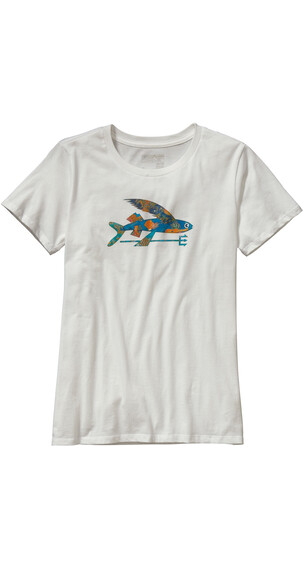 Patagonia W's Isle Wild Flying Fish Cotton Crew T-Shirt White